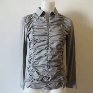 AKRIS PUNTO GREY LONG SLEEVE 1/2 ZIP RUCHED TOP 8*